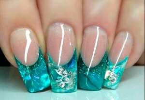 Аквариумный дизайн ногтей из блесток